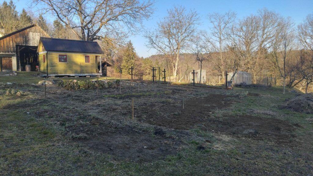 Začetek februarja, še vedno brez kompostne zastrike. To je zadnja slika stare razporeditve gredic.