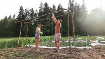 Opora za paradižnik za vzgojo ob vrvici