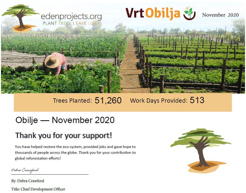 Certifikat pet dreves Vrt Obilja